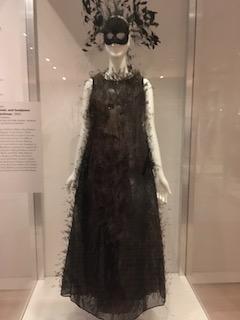 Halston dress, mask and headpiece